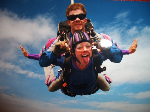 Me, skydiving on my 40th