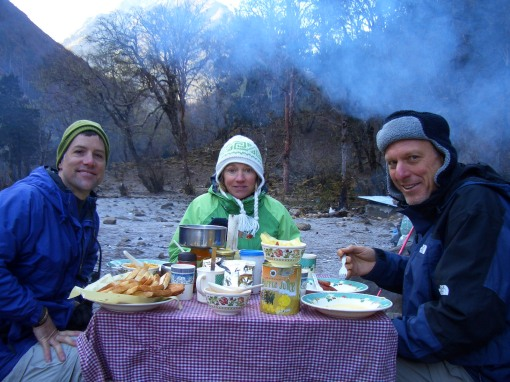 Mealtime at camp-Brrrrrrr....