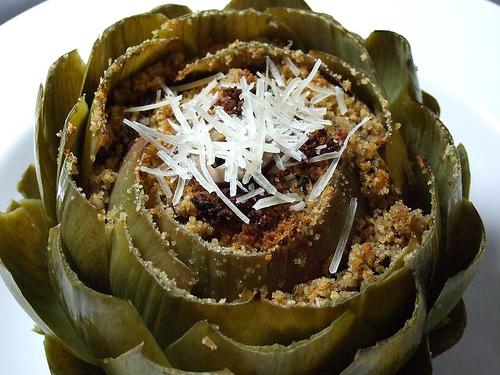 baked, stuffed artichoke